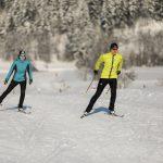 """Lässige Skating-Schwünge vor den mit Schnee """"angezuckerten"""" Bäumen"""